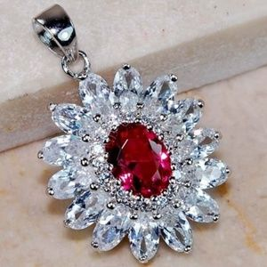 3CT Ruby and White Topaz 925 Silver Pendant